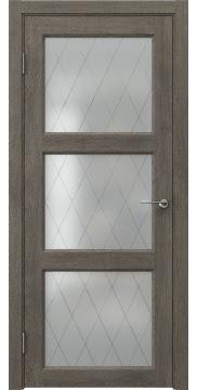 Межкомнатная дверь FK017 (экошпон «серый дуб» / матовое стекло ромб) — 0320