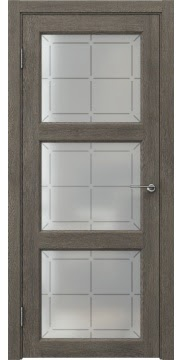 Межкомнатная дверь FK017 (экошпон «серый дуб» / стекло решетка) — 0321