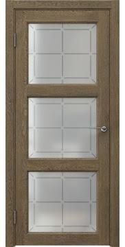 Межкомнатная дверь FK017 (экошпон «дуб антик» / стекло решетка) — 0312