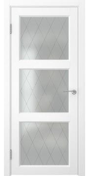Межкомнатная дверь FK017 (экошпон «ясень белый» / матовое стекло ромб) — 0323