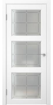 Межкомнатная дверь, FK017 (экошпон ясень белый, стекло решетка)