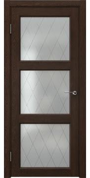 Межкомнатная дверь FK017 (экошпон «дуб шоколад» / матовое стекло ромб) — 0326