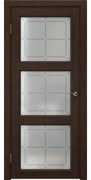 Межкомнатная дверь FK017 (экошпон «дуб шоколад» / стекло решетка) — 0327