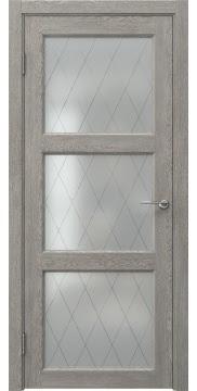 Межкомнатная дверь, FK017 (экошпон дымчатый дуб, стекло ромб)
