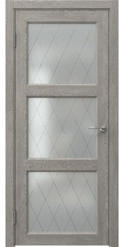 Межкомнатная дверь FK017 (экошпон «дымчатый дуб» / матовое стекло ромб) — 0329