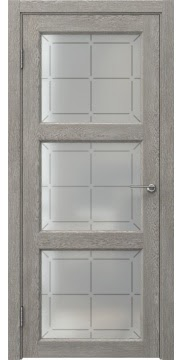 Межкомнатная дверь FK017 (экошпон «дымчатый дуб» / стекло решетка) — 0330