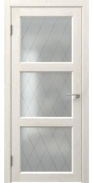 Межкомнатная дверь FK017 (экошпон «белый дуб» / матовое стекло ромб) — 0314