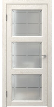 Межкомнатная дверь FK017 (экошпон «белый дуб» / стекло решетка) — 0315