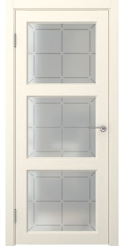 Межкомнатная дверь FK017 (экошпон «ваниль» / стекло решетка) — 0318