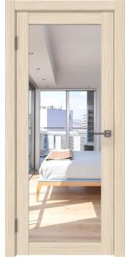 Межкомнатная дверь, FK021 (экошпон беленый дуб FL, с зеркалом)