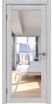 Межкомнатная дверь, FK021 (экошпон серый дуб FL, с зеркалом)