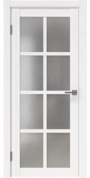 Межкомнатная дверь, FK028 (экошпон белый FL, матовое стекло)