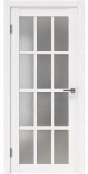 Межкомнатная дверь, FK029 (экошпон белый FL, матовое стекло)
