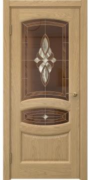 Шпонированная дверь в стиле классика, FK030 (шпон дуб натуральный, витраж)