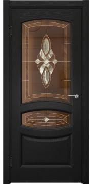 Межкомнатная дверь, FK030 (шпон ясень черный, витраж)