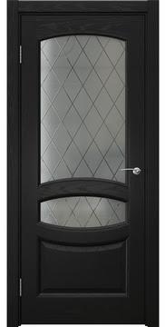 Межкомнатная дверь, FK030 (шпон ясень черный, сатинат ромб)