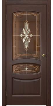 Межкомнатная дверь, FK030 (шпон итальянский орех, витраж)
