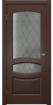 Межкомнатная дверь FK030 (шпон итальянский орех / стекло: сатинат ромб) — 5862