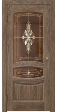 Классическая дверь, FK030 (шпон американский орех, витраж)