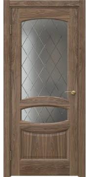 Межкомнатная дверь FK030 (шпон американский орех / стекло: сатинат ромб) — 5859