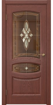 Межкомнатная дверь FK030 (шпон красное дерево / витраж) — 5854