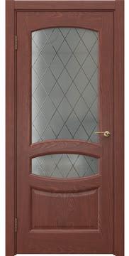 Межкомнатная дверь FK030 (шпон красное дерево / стекло: сатинат ромб) — 5856
