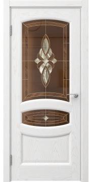 Межкомнатная дверь FK030 (шпон ясень белый / витраж) — 5848