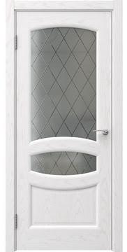 Межкомнатная дверь FK030 (шпон ясень белый / стекло: сатинат ромб) — 5850