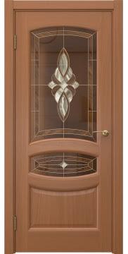 Дверь в стиле классик, каркас из массива сосны, FK030 (шпон анегри, витраж)