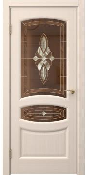 Межкомнатная дверь, FK030 (шпон беленый дуб, витраж)