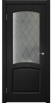 Межкомнатная дверь, FK031 (шпон ясень черный, сатинат ромб)