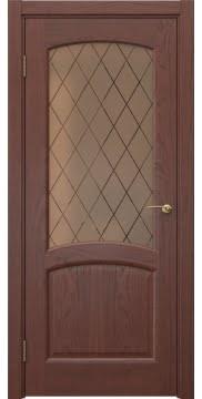 Межкомнатная дверь, FK031 (шпон красное дерево, стекло бронзовое)