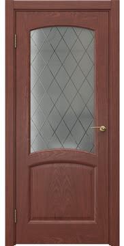 Межкомнатная дверь FK031 (шпон красное дерево / стекло: сатинат ромб) — 5873