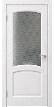 Межкомнатная дверь, FK031 (шпон ясень белый, сатинат ромб)