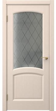 Межкомнатная дверь с каркасом из массива сосны и МДФ, FK031 (шпон беленый дуб, стекло с гравировкой)