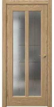 Межкомнатная дверь FK032 (натуральный шпон дуба / сатинат с гравировкой решетка) — 5971