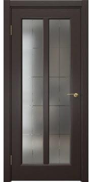 Межкомнатная дверь FK032 (шпон венге / сатинат с гравировкой решетка) — 5967