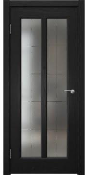 Межкомнатная дверь FK032 (шпон ясень черный / сатинат с гравировкой решетка) — 5981