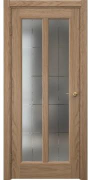Межкомнатная дверь FK032 (шпон дуб светлый / сатинат с гравировкой решетка) — 5973