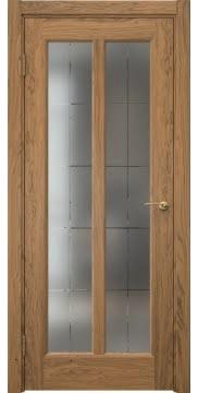 Межкомнатная дверь FK032 (шпон дуб античный с патиной / сатинат с гравировкой решетка) — 5975