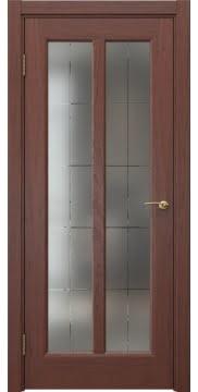 Межкомнатная дверь, FK032 (шпон красное дерево, стекло с гравировкой)