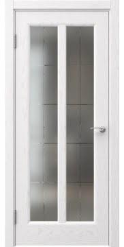 Межкомнатная дверь FK032 (шпон ясень белый / сатинат с гравировкой решетка) — 5965