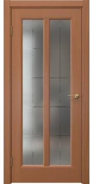 Межкомнатная дверь, FK032 (шпон анегри, стекло с гравировкой)