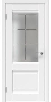 Межкомнатная дверь, FK033 (экошпон белый, стекло с гравировкой)