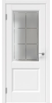 Межкомнатная дверь, FK034 (экошпон белый, стекло с гравировкой)