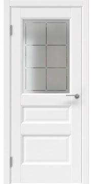 Межкомнатная дверь, FK035 (экошпон белый, стекло с гравировкой)