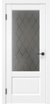 Межкомнатная дверь, FK037 (экошпон белый (под эмаль), стекло с гравировкой)