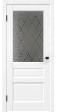 Межкомнатная дверь, FK038 (экошпон белый (под эмаль), стекло с гравировкой)