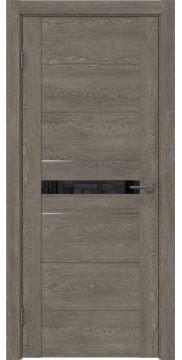 Межкомнатная дверь GM003 (экошпон «серый дуб» / лакобель черный) — 0428