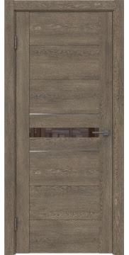 Межкомнатная дверь GM003 (экошпон «дуб антик» / лакобель коричневый) — 0418